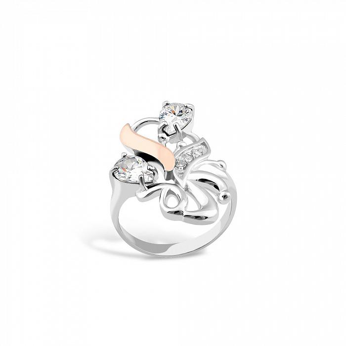 Серебряное кольцо Валентайн с золотой накладкой и кристаллами циркония 000082095