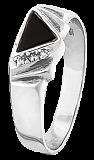 Серебряное кольцо с ониксом и фианитами Мэвис