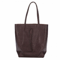 Кожаная сумка на каждый день Genuine Leather 7803 коричневого цвета с завязками и мягкой складкой
