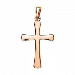 Крестик без распятия из красного золота в стиле минимализм 000130900