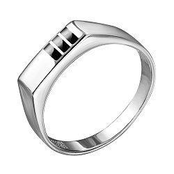 Серебряный перстень-печатка с эмалью 000140660