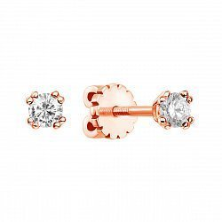 Серьги-пуссеты из красного золота с бриллиантами 000134033
