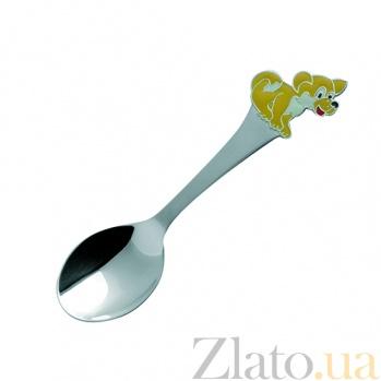 Серебряная чайная ложка с эмалью детская Собака-часы ZMX--1285_1220