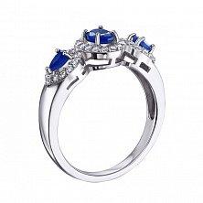 Серебряное кольцо с сапфирами и фианитами 000132700
