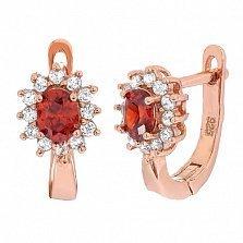 Позолоченные серебряные сережки с красными фианитами Анкария