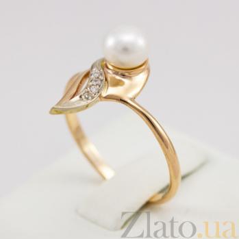 Золотое кольцо с жемчугом и фианитами Комета Галлея 000024359