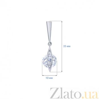 Серебряные серьги подвески Элен AQA--72240б