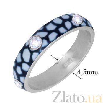 Золотое кольцо Пастель с фианитами и эмалью жираф К221бел/жираф