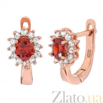 Позолоченные серебряные сережки с красными фианитами Анкария SLX--СК3ФГ/375