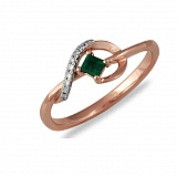 Кольцо Римма из красного золота с бриллиантами и изумрудом