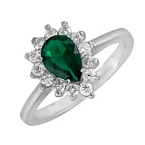 Серебряное кольцо с зеленым фианитом Брюссель