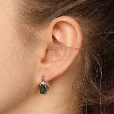 Серебряные серьги Гринерия с зеленым кварцем и фианитами