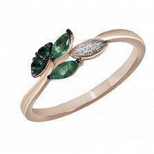 Кольцо из красного золота Инна с изумрудами и бриллиантами