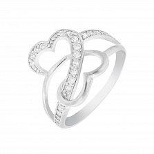 Серебряное кольцо Танец любви с фианитами