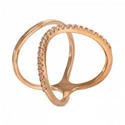 Фаланговое кольцо в красном золоте Катрин с фианитами