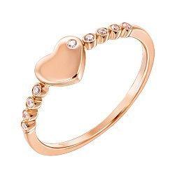 Золотое кольцо Любовь в красном цвете с фианитами