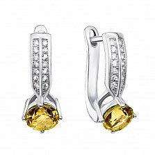 Серебряные серьги с хризолитами и фианитами 000134900