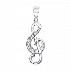 Серебряный кулон Скрипичный ключ с кристаллами циркония 000106962