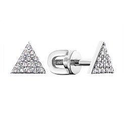 Серьги-пуссеты из белого золота с бриллиантами 000146784