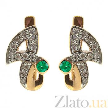 Золотые серьги с бриллиантами и изумрудами Анита ZMX--EE-6478_K