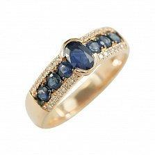 Золотое кольцо с сапфирами и бриллиантами Бездонное море