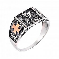 Серебряная печатка Георгий Победоносец с чернением и золотыми накладками в форме креста 000102136