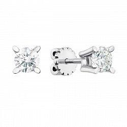Серьги-пуссеты из белого золота с бриллиантами 000145916