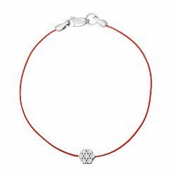 Шелковый браслет с серебряной вставкой и застежкой 000118134