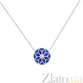 Колье из белого золота с эмалью и бриллиантом Snow Queen 1Л549-0001