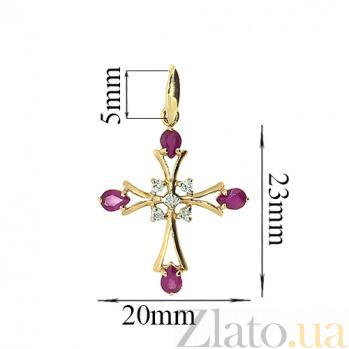 Золотой декоративный крестик в красном цвете с рубинами и бриллиантами Рим ZMX--PR-6486_K