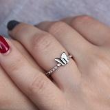 Серебряное кольцо Легкость мотылька с фианитами