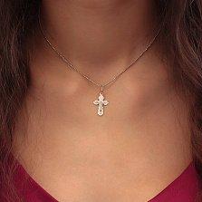 Серебряный крестик Мощная защита на фигурной основе с насечками