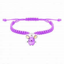 Детский плетеный браслет Розовая мышка с эмалью и фианитом, 10х20см