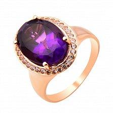 Кольцо из красного золота с аметистом и фианитами 000131026