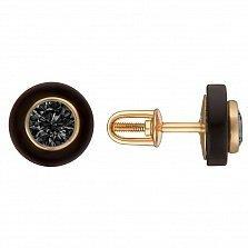 Серьги-пуссеты в желтом золоте Одри с черной керамикой и фианитами