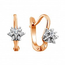 Золотые серьги Ажурная снежинка с бриллиантами в родированном касте