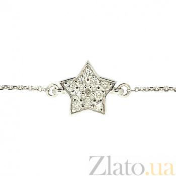 Золотой браслет в белом цвете с бриллиантами Звезда ZMX--BCD-00201\1w_K