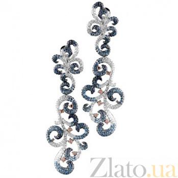 Золотые серьги с сапфирами и бриллиантами Валетта KBL--С2378/бел/сапф