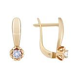 Золотые сережки Амур с бриллиантом