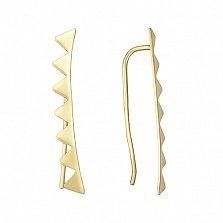 Золотые серьги-каффы Зубчики в евро цвете