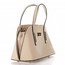 Миниатюрная кожаная сумка Genuine Leather 8672 бежевого цвета на кулиске, с металлическими ножками