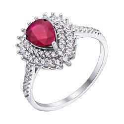 Серебряное кольцо Белла с рубином и фианитами