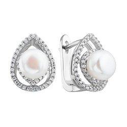 Серебряные серьги с жемчугом и фианитами 000132584