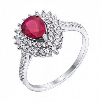 Серебряное кольцо с рубином и фианитами 000117883
