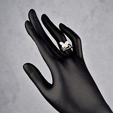 Серебряное кольцо Две бабочки с широкой шинкой и белыми фианитами