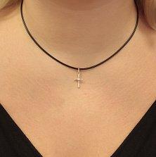 Серебряный декоративный крестик Юстина с фианитом
