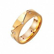 Золотое обручальное кольцо Мир и лад с фианитами