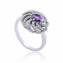 Серебряное кольцо Полевой цветок с аметистом и фианитами