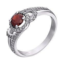 Серебряное кольцо с гранатом и фианитами 000114191