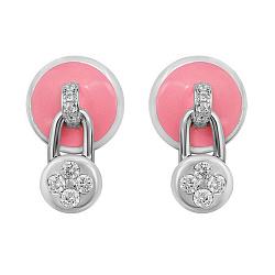 Серебряные серьги-пуссеты с подвесками-замочками, розовой эмалью и фианитами 000105933
